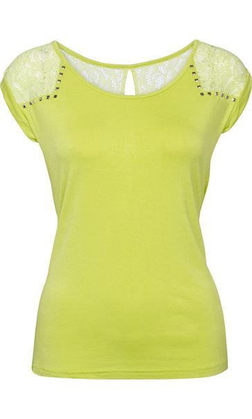 Stud And Lace Trim Jersey Top Bright Lime