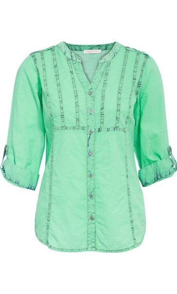 Anna Rose Ice Washed Turn Up Sleeve Blouse Green