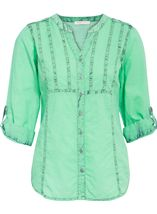 Anna Rose Ice Washed Turn Up Sleeve Blouse Green - Gallery Image 1