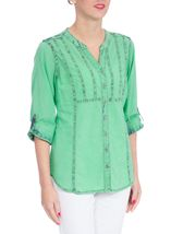 Anna Rose Ice Washed Turn Up Sleeve Blouse Green - Gallery Image 2