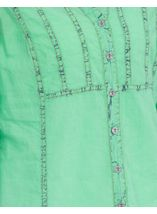 Anna Rose Ice Washed Turn Up Sleeve Blouse Green - Gallery Image 4