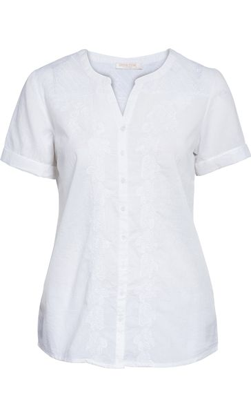 Anna Rose Embroidered Short Sleeve Blouse White