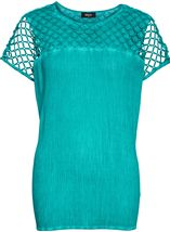 Crinkle Washed Top Electric Green - Gallery Image 1