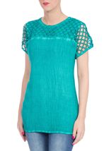 Crinkle Washed Top Electric Green - Gallery Image 2