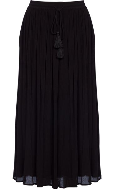 Elasticated Waist Crinkle Crepe Maxi Skirt Black