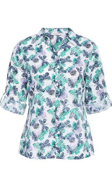 Anna Rose Three Quarter Sleeve Butterfly Blouse Lilac/Navy