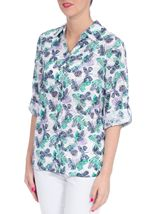 Anna Rose Three Quarter Sleeve Butterfly Blouse Lilac/Navy - Gallery Image 2