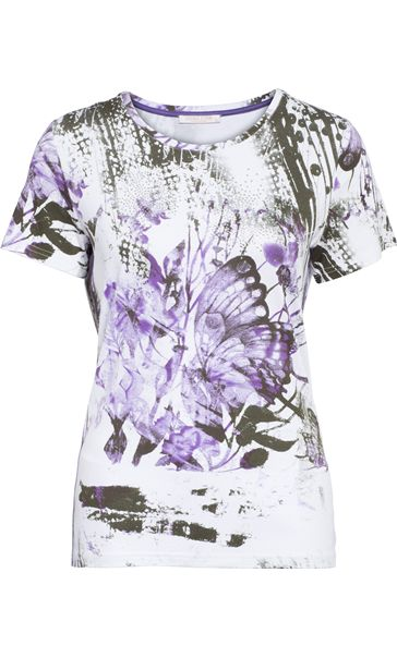 Anna Rose Butterfly Print Embellished Top White/Lilac