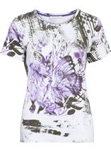 Anna Rose Butterfly Print Embellished Top White/Lilac - Gallery Image 1