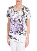 Anna Rose Butterfly Print Embellished Top White/Lilac - Gallery Image 2