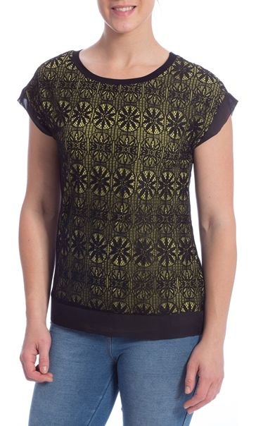 Lace Overlay Short Sleeve Top Black/Pistachio