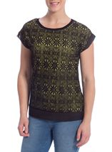 Lace Overlay Short Sleeve Top Black/Pistachio - Gallery Image 1