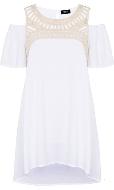 Cold Shoulder Crinkle Georgette Tunic White