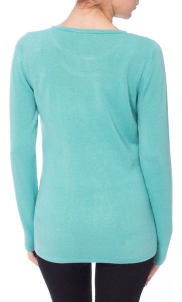 Anna Rose Embellished Knitted Top Pale Jade - Gallery Image 2