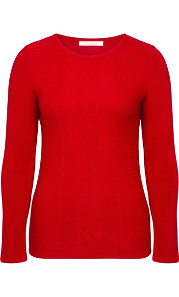 Anna Rose Embellished Knitted Top Red