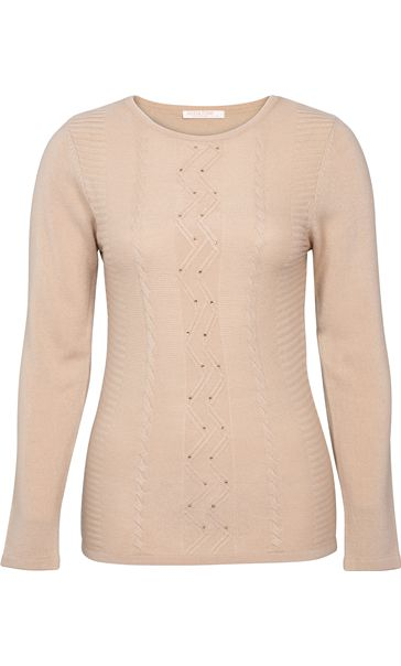 Anna Rose Embellished Knitted Top Beige