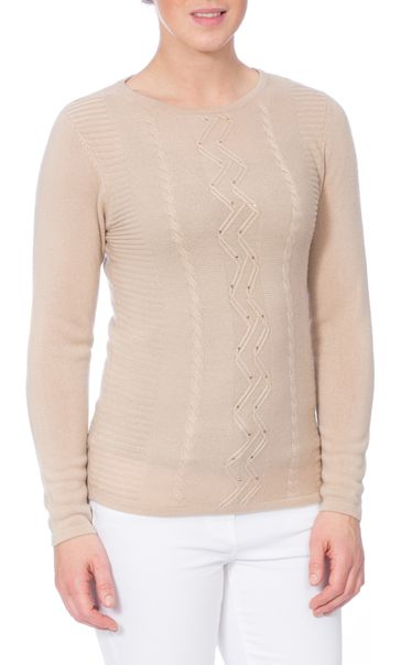 Anna Rose Embellished Knitted Top Beige - Gallery Image 2