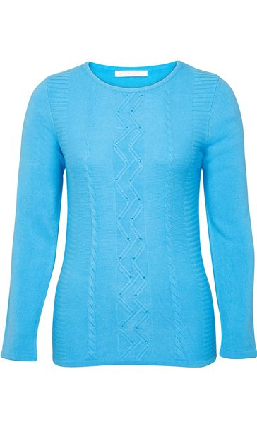 Anna Rose Embellished Knitted Top Blue
