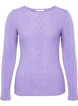 Anna Rose Embellished Knitted Top Lilac - Gallery Image 1