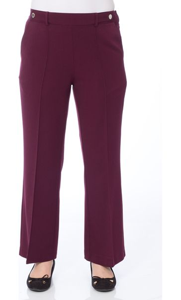 Anna Rose 27 Inch Straight Leg Trousers Burgundy - Gallery Image 2