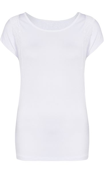 Short Sleeve Lace Trim Jersey Top