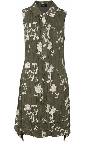 Crinkle Embroidered Sleeveless Dress Olive