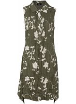 Crinkle Embroidered Sleeveless Dress Olive - Gallery Image 1