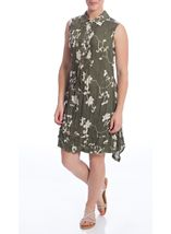 Crinkle Embroidered Sleeveless Dress Olive - Gallery Image 2