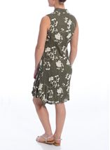 Crinkle Embroidered Sleeveless Dress Olive - Gallery Image 3
