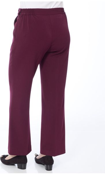 Anna Rose 29 Inch Straight Leg Trousers Burgundy - Gallery Image 3