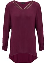 Crochet Trim Long Crinkle Tunic Burgundy - Gallery Image 1