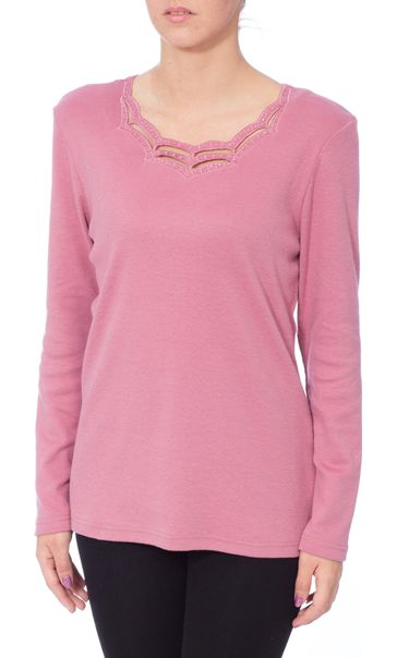 Anna Rose Long Sleeve Embellished Top Dusky Pink - Gallery Image 2