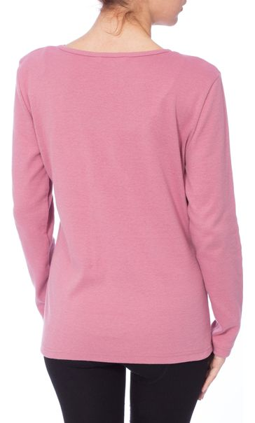 Anna Rose Long Sleeve Embellished Top Dusky Pink - Gallery Image 3