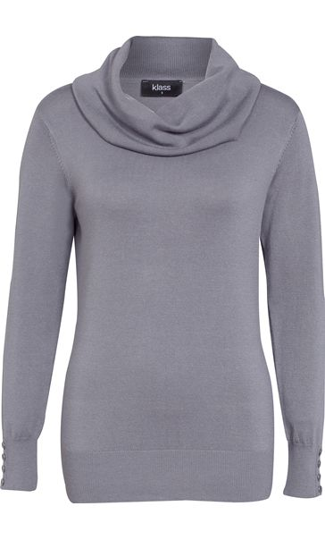 Cowl Neck Knit Top Grey