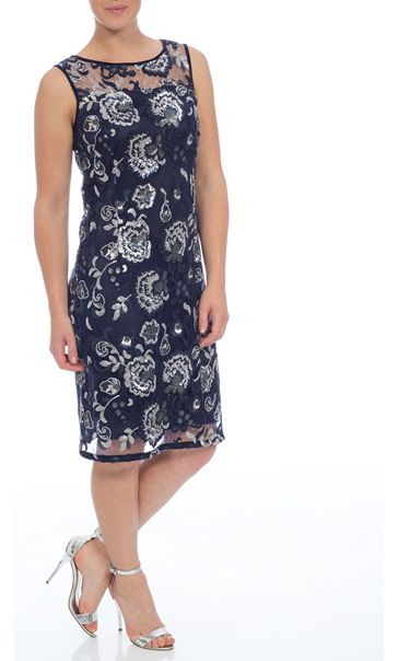 Floral Sequin And Lace Midi Sleeveless Dress Navy/Silver