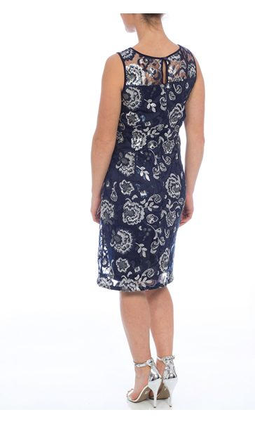 Floral Sequin And Lace Midi Sleeveless Dress Navy/Silver - Gallery Image 2