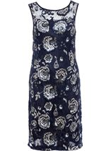 Floral Sequin And Lace Midi Sleeveless Dress Navy/Silver - Gallery Image 3