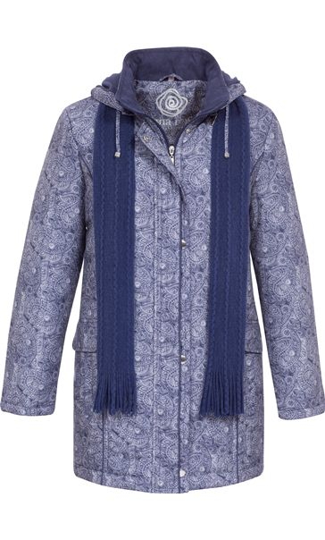 Anna Rose Printed Parka With Scarf Navy