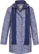 Anna Rose Printed Parka With Scarf Navy - Gallery Image 1