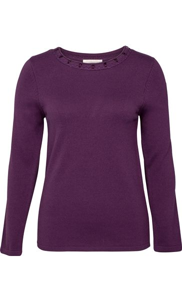 Anna Rose Jewelled Neck Knit Top Deep Purple