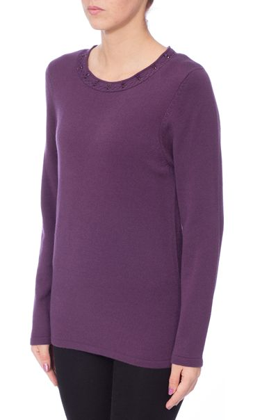 Anna Rose Jewelled Neck Knit Top Deep Purple - Gallery Image 2