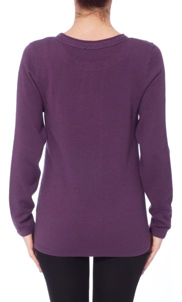 Anna Rose Jewelled Neck Knit Top Deep Purple - Gallery Image 3