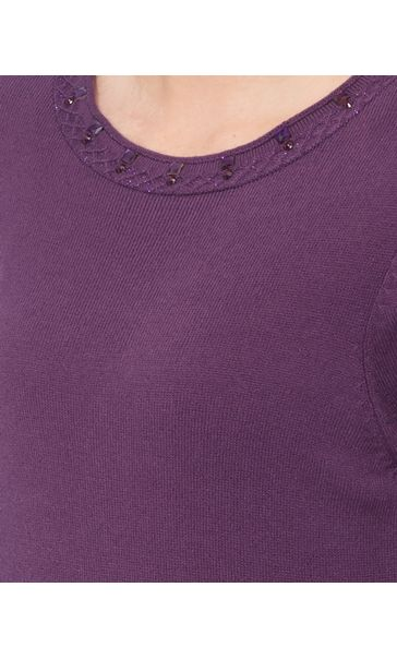 Anna Rose Jewelled Neck Knit Top Deep Purple - Gallery Image 4