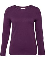 Anna Rose Jewelled Neck Knit Top Deep Purple - Gallery Image 1