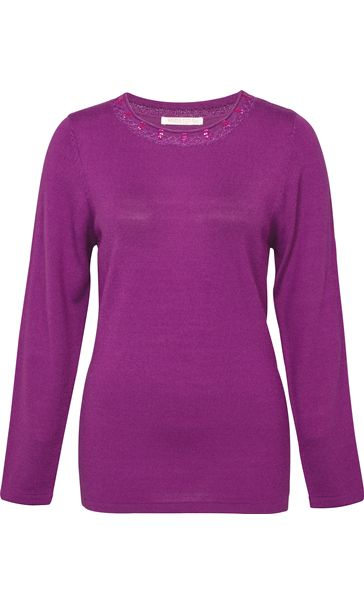 Anna Rose Jewelled Neck Knit Top Orchid