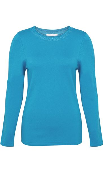 Anna Rose Jewelled Neck Knit Top Blue