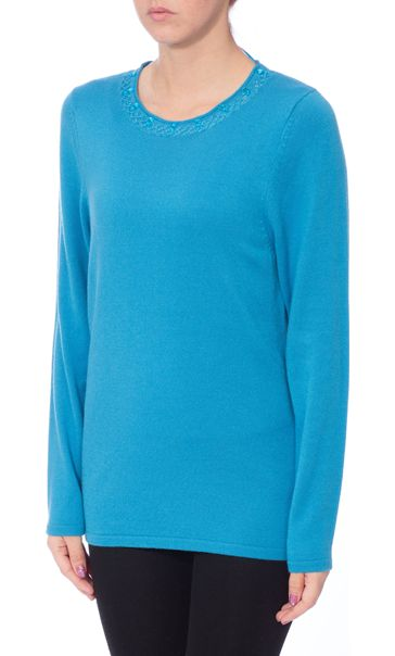 Anna Rose Jewelled Neck Knit Top Blue - Gallery Image 2