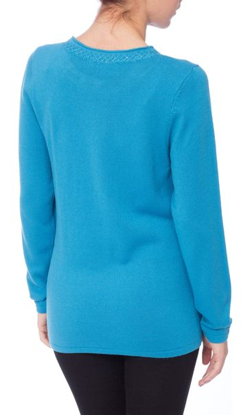 Anna Rose Jewelled Neck Knit Top Blue - Gallery Image 3