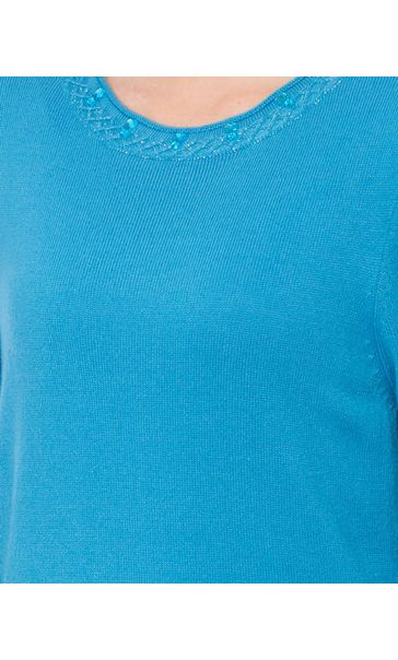 Anna Rose Jewelled Neck Knit Top Blue - Gallery Image 4