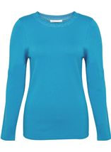 Anna Rose Jewelled Neck Knit Top Blue - Gallery Image 1